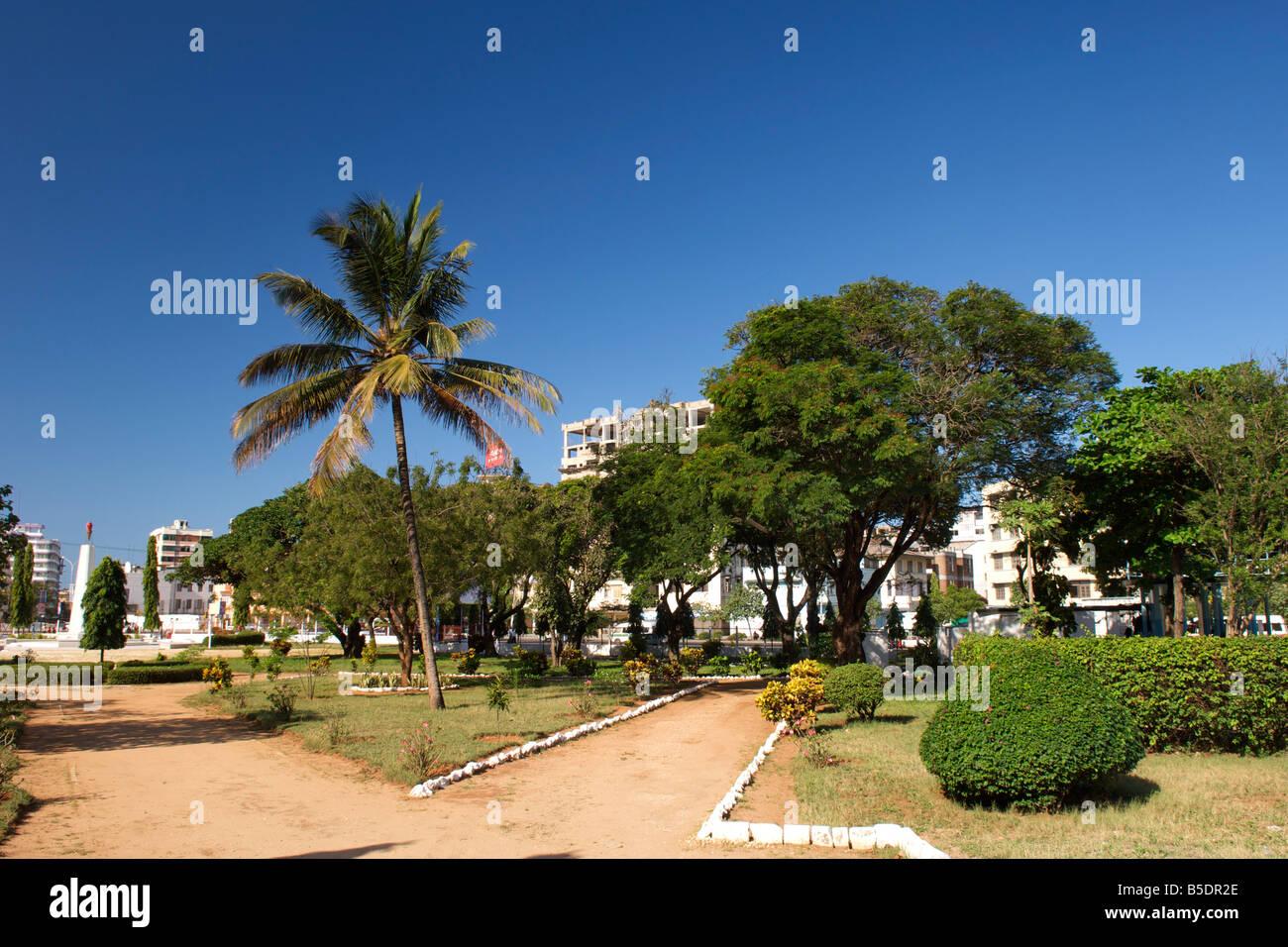 Public gardens in Dar es Salaam, the capital of Tanzania. - Stock Image
