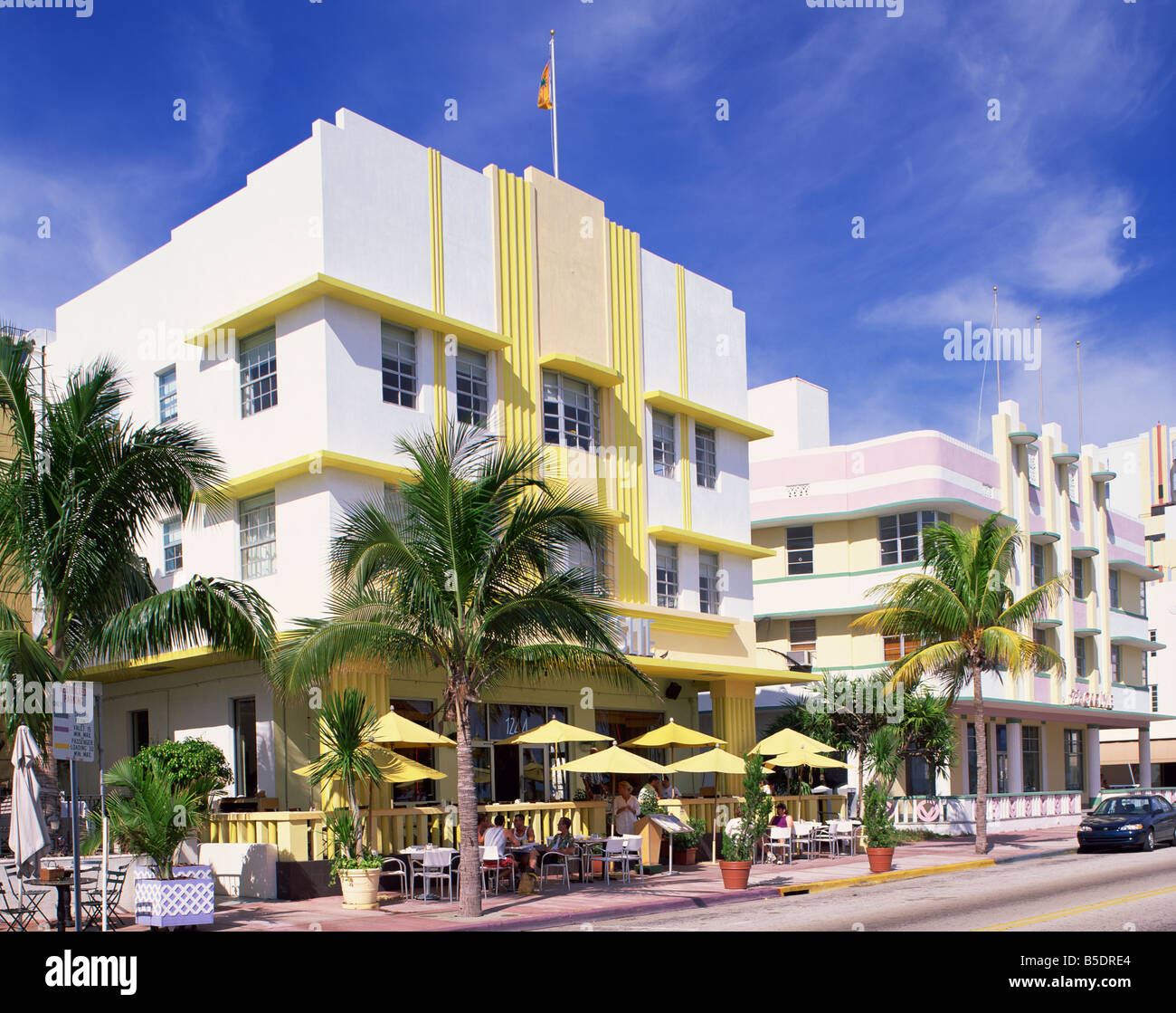 Outdoor cafe in front of the Leslie Hotel Ocean Drive Art Deco District Miami Beach South Beach Miami Florida USA - Stock Image