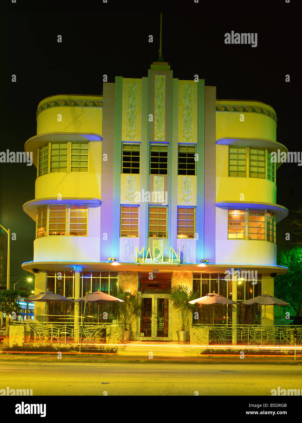 the marlin hotel illuminated at night ocean drive art deco district