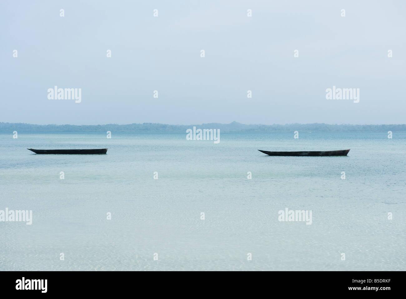 Tanzania, Zanzibar, dugout canoes - Stock Image