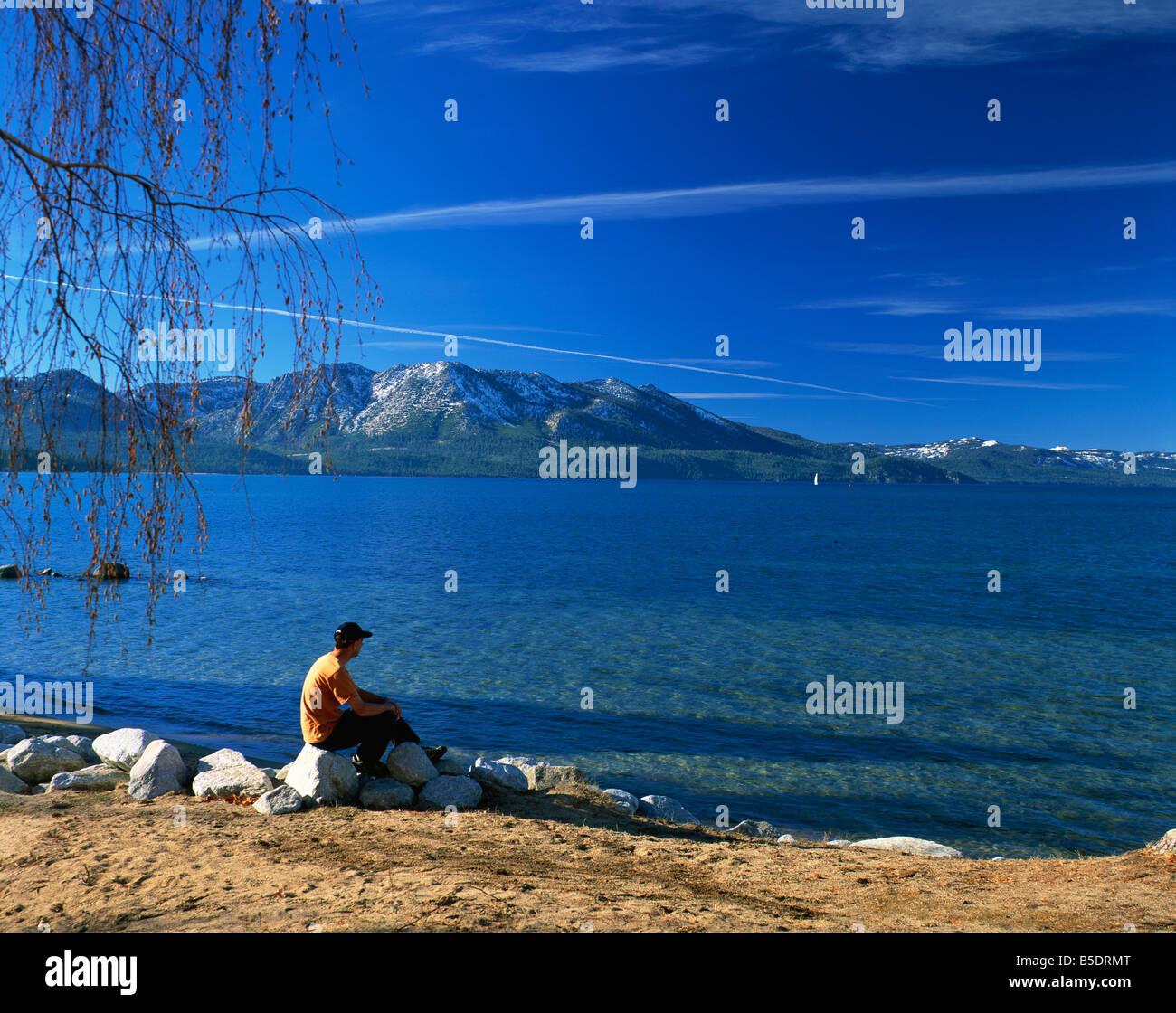 View of south beach, Lake Tahoe, California, USA, North America Stock Photo