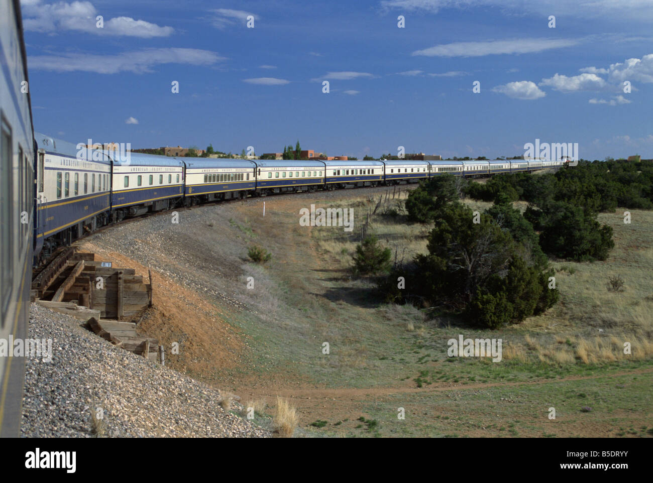 View from open doorway on the American Orient Express train, travelling in the Southwest U.S., USA, North America - Stock Image