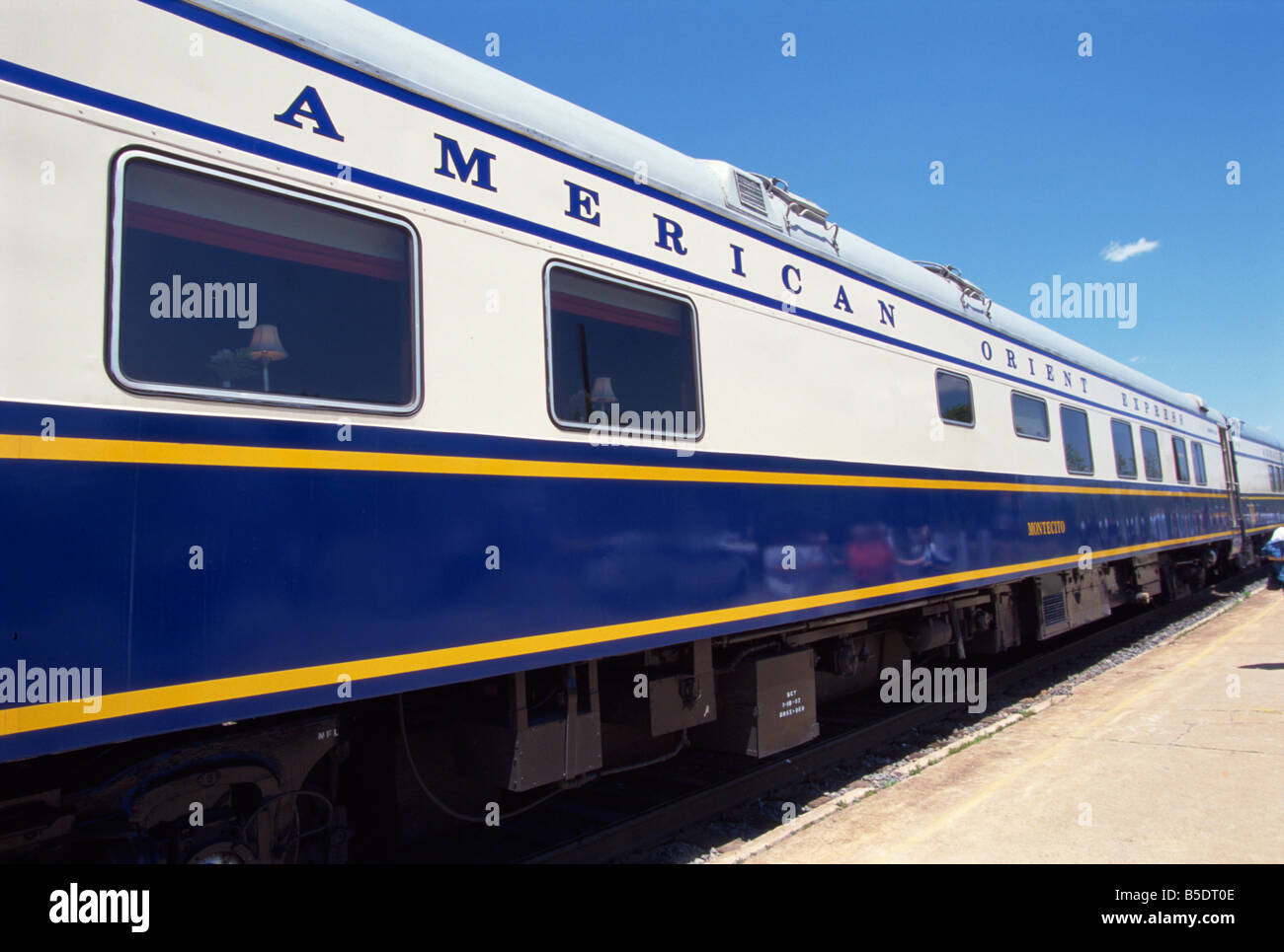 The American Orient Express train, travelling in the Southwest U.S., USA, North America - Stock Image