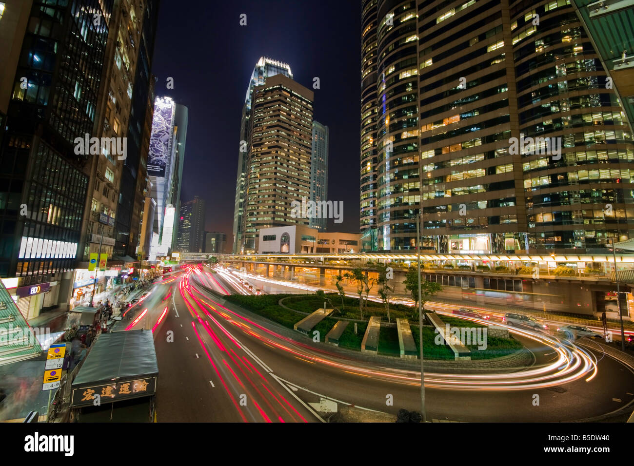 Centre Of Hong Kong At Night With Light Trails From Busy Roads Stock Photo Alamy