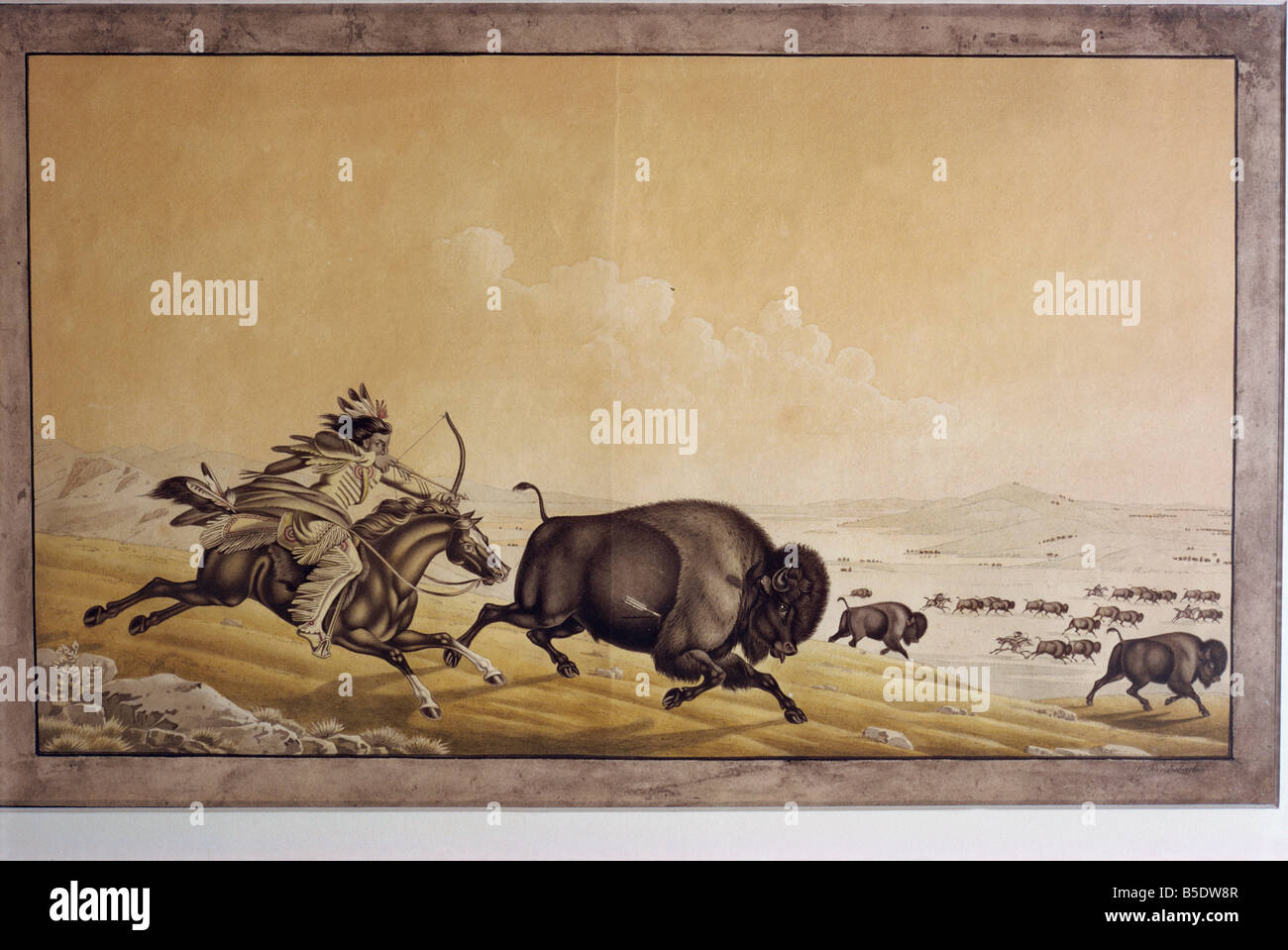 Mode of chasing bison by the Assinneboins by P Rindisbacher West Point Museum United States of America North America - Stock Image