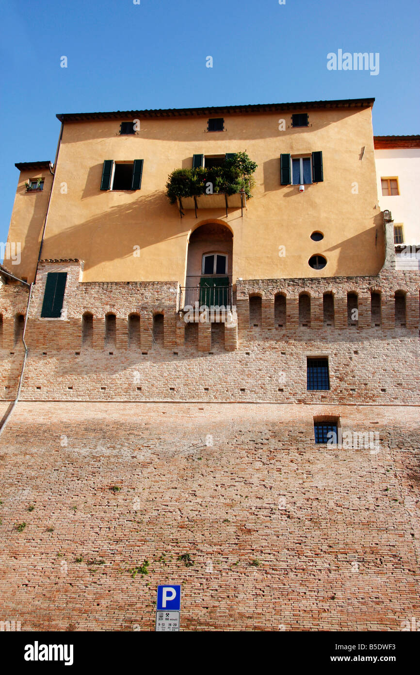 colorful house built on top of the historic walls of the beautiful hilltown of Jesi in Le Marche,the Marches, Italy Stock Photo