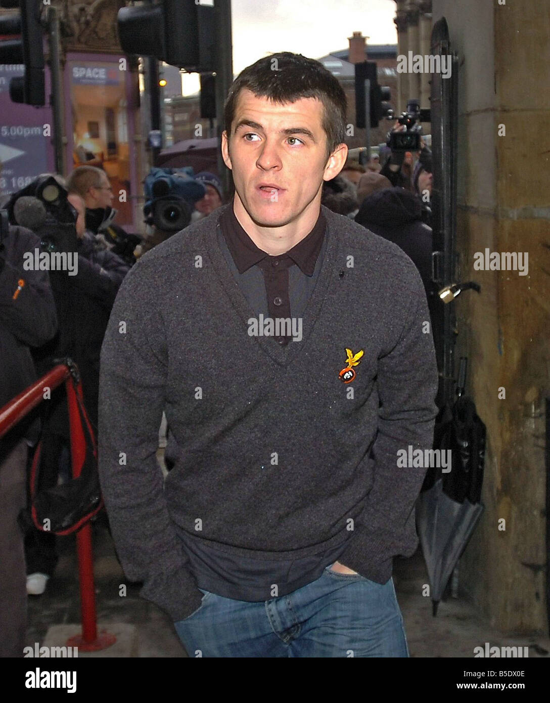 Newcastle United footballer Joey Barton larrives at Liverpool Magistrates Court appearing on assault charges He - Stock Image