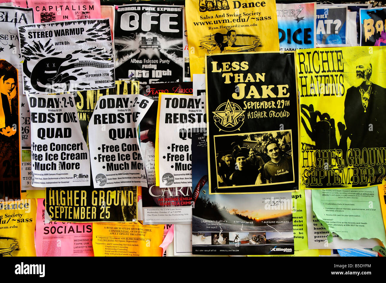 college posters and flyers burlington vermont usa stock photo