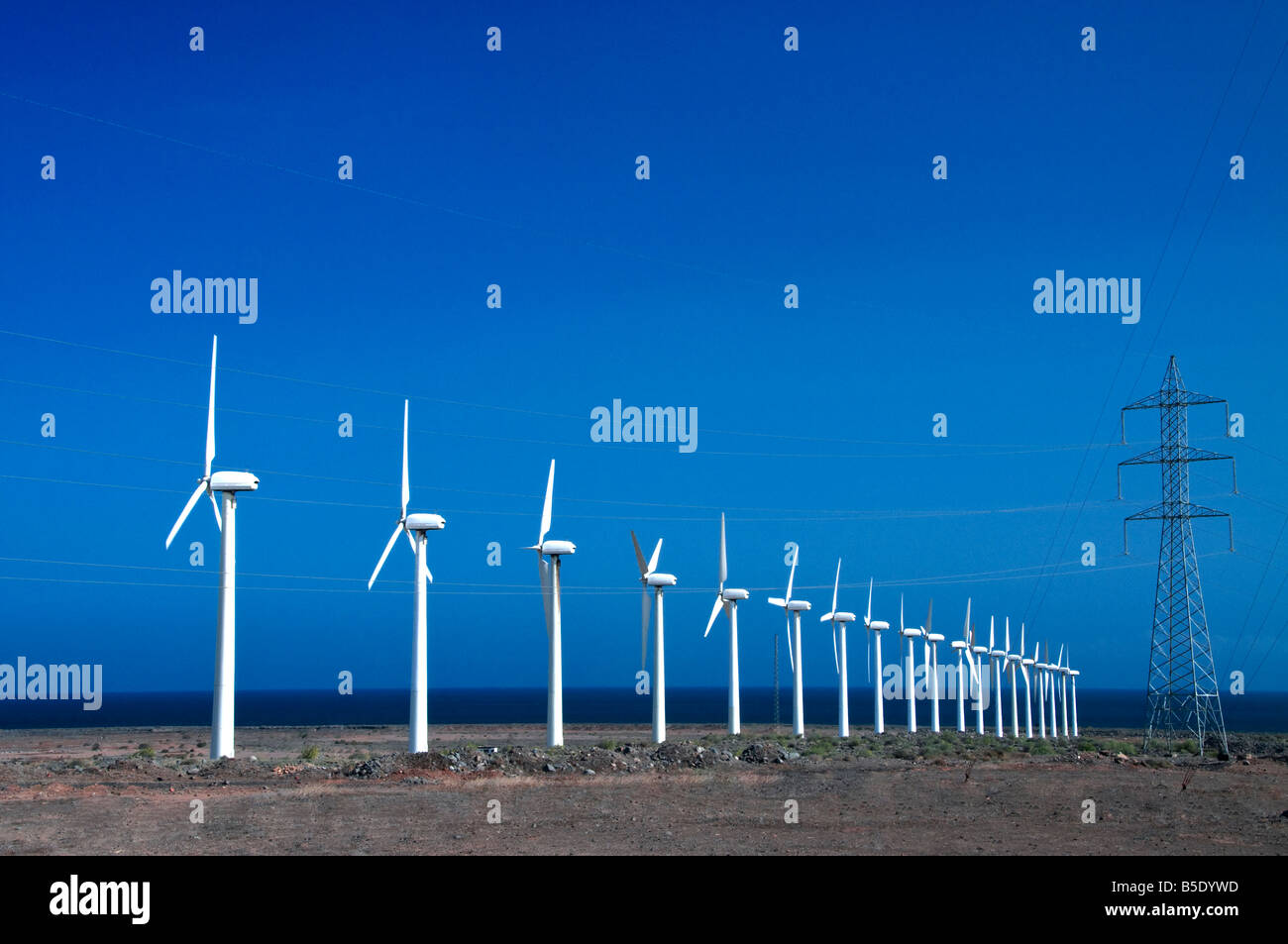 Wind turbines leading to electricity pylon on the coastline with sunny blue sky behind - Stock Image