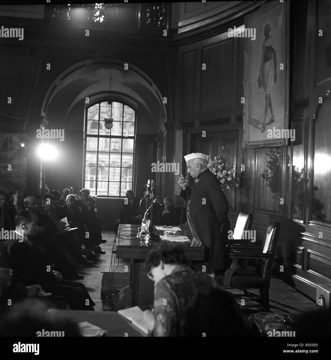 Pandit Jawaharlal Nehru at his press conference held at India House during his visit to the United Kingdom. March - Stock Image
