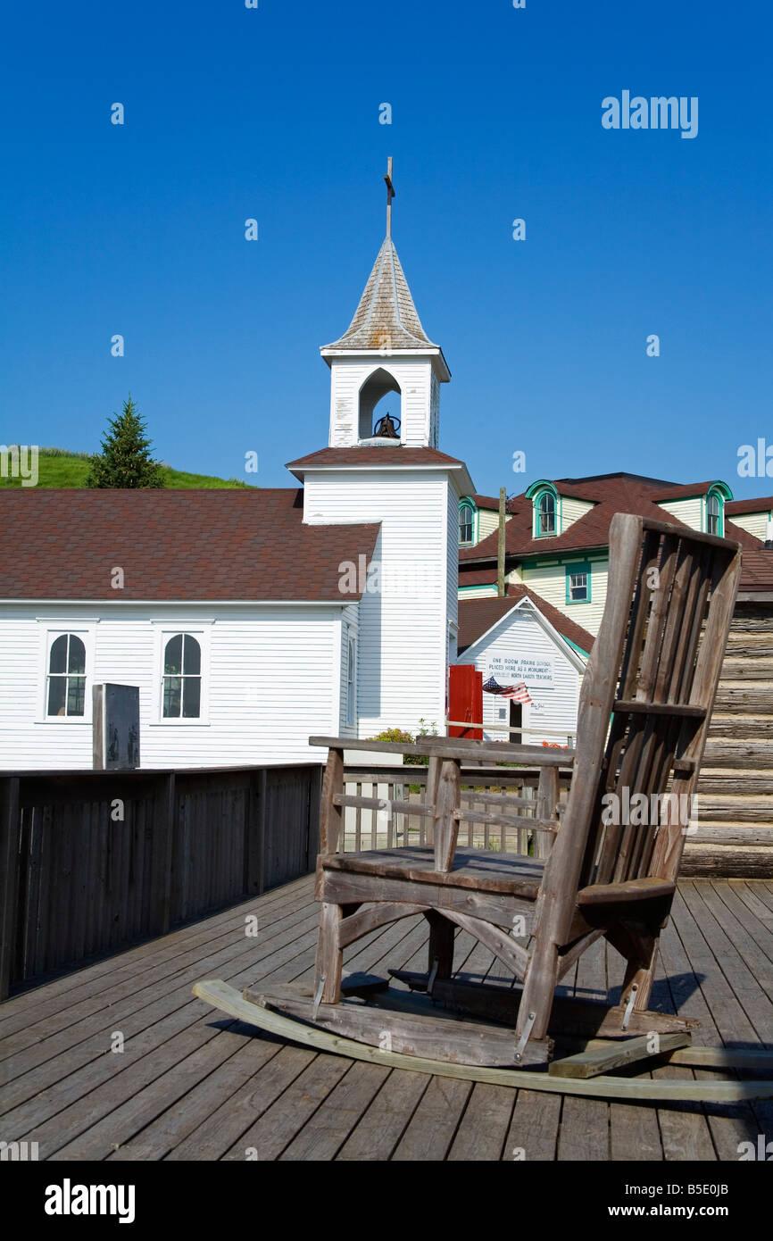 Pioneer Church in Frontier Village, Jamestown, North Dakota, USA, North America Stock Photo
