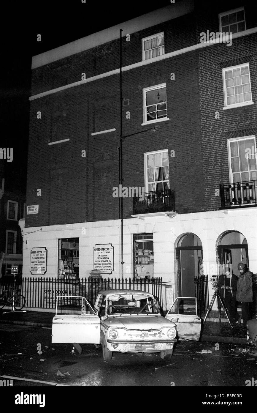 IRA. Bombing Campaign London: London Car Bomb Explosion in Kendall St. February 1976 - Stock Image