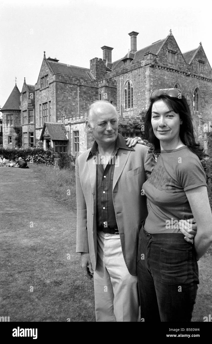 Lord and Lady Montagu in front of their home Palace House Beaulieu Hants. June 1976 - Stock Image