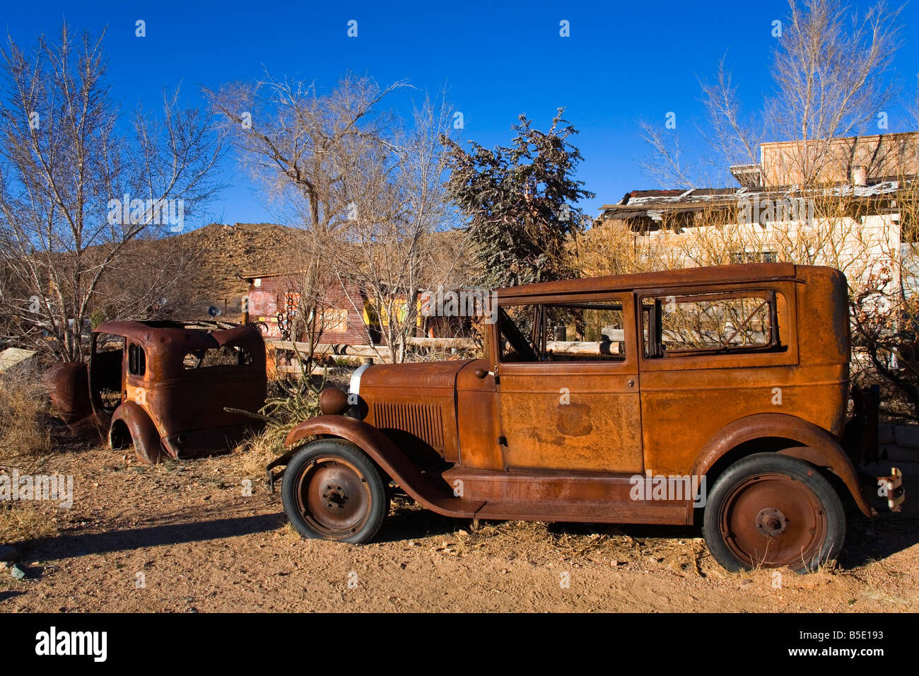 Rusty old car, General Store and Route 66 Museum, Hackberry, Arizona, USA, North America - Stock Image