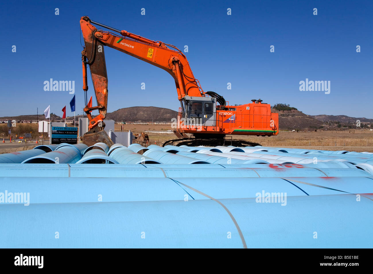 Pipe laying, Temecula Valley, Southern California, USA, North America - Stock Image