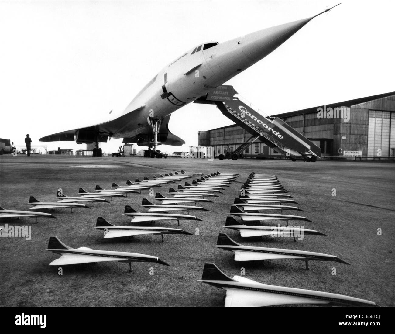 Concordes for 53p .. Excepting the one at the back. Model Concordes by Corgi Toys line up with 01, the first pre - Stock Image
