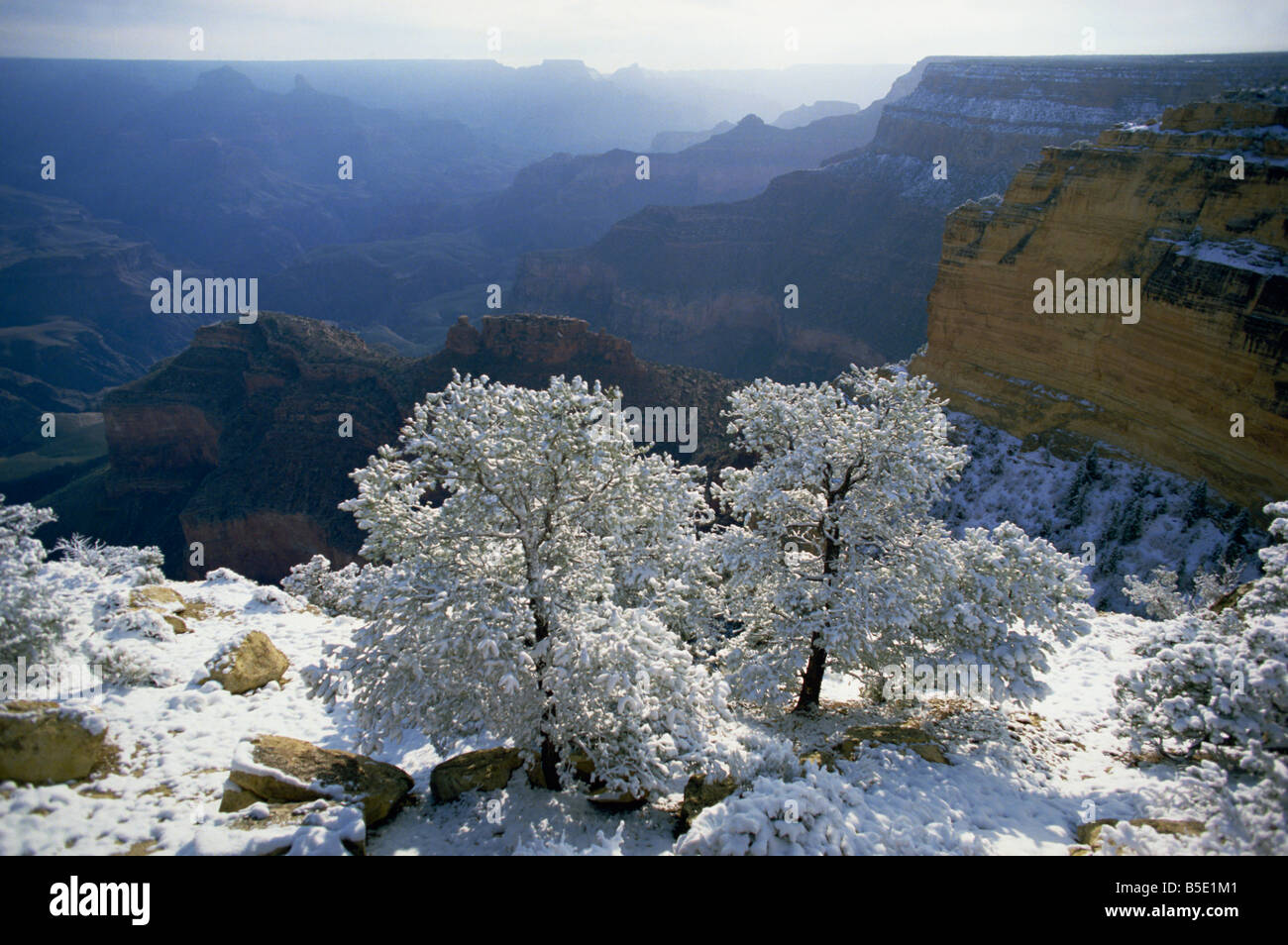 Looking east of the Canyon from the Powell Memorial as the sun rises after snow in April, Grand Canyon National - Stock Image