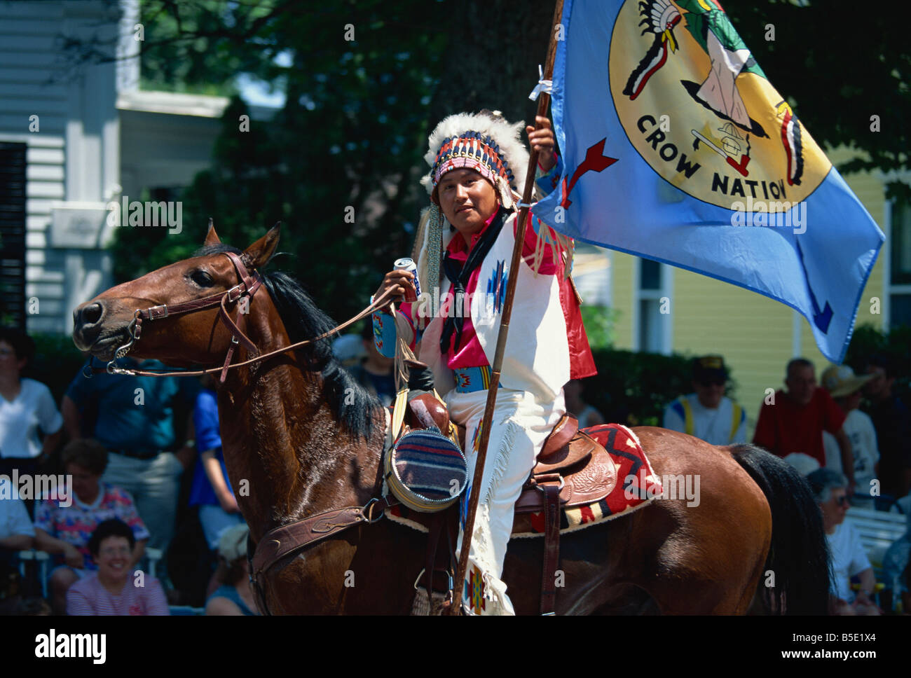 Crow Nation Indian at Bristol's famous 4th of July parade, Bristol, Rhode Island, USA, North America - Stock Image