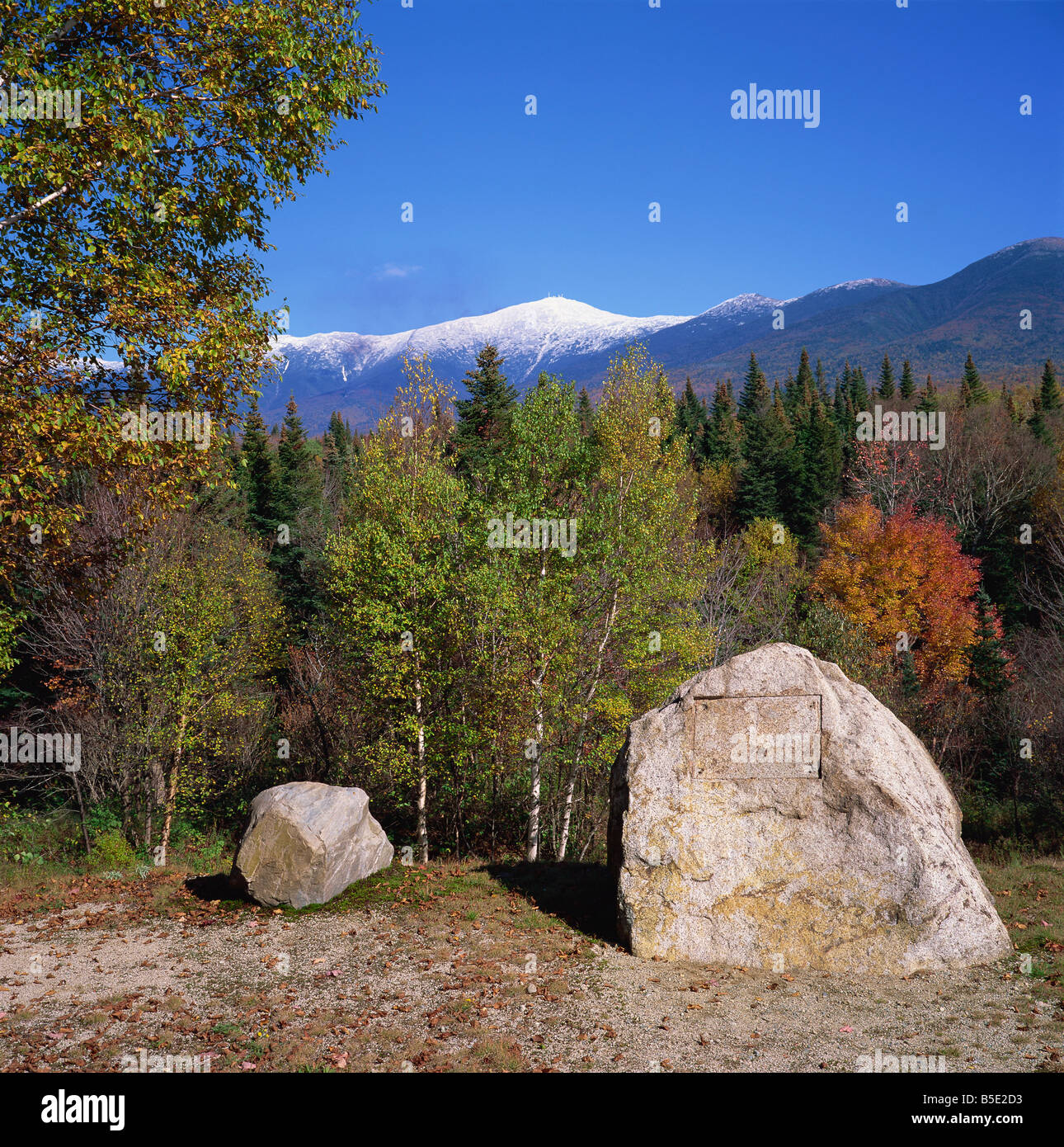 Large stone with plaque removed in forest during autumn with Mount Washington behind White Mountains National Forest - Stock Image