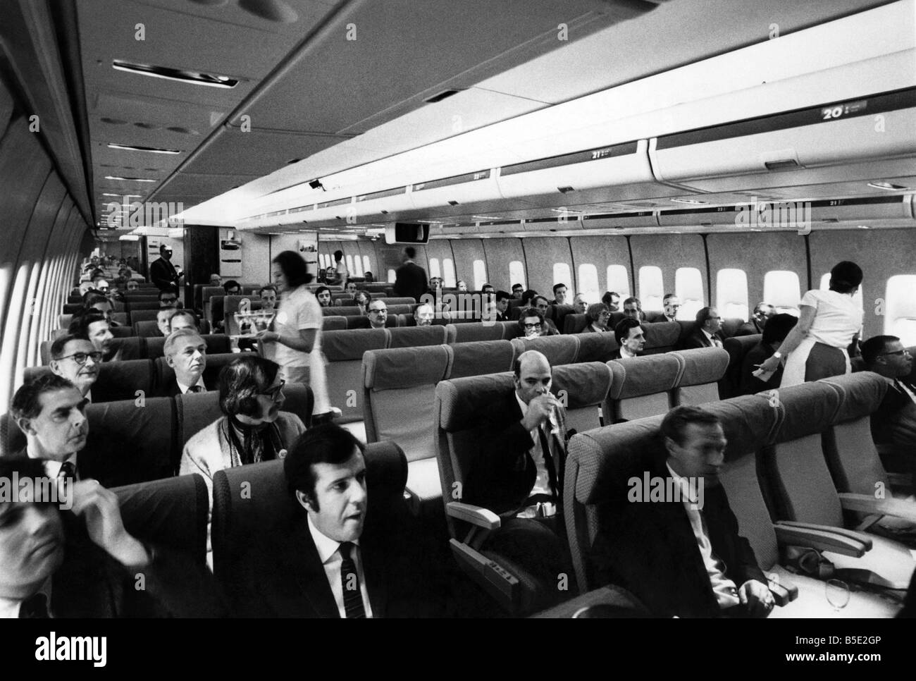 The huge interior of the Boeing 747 jumbo jet, after its arrival at ...