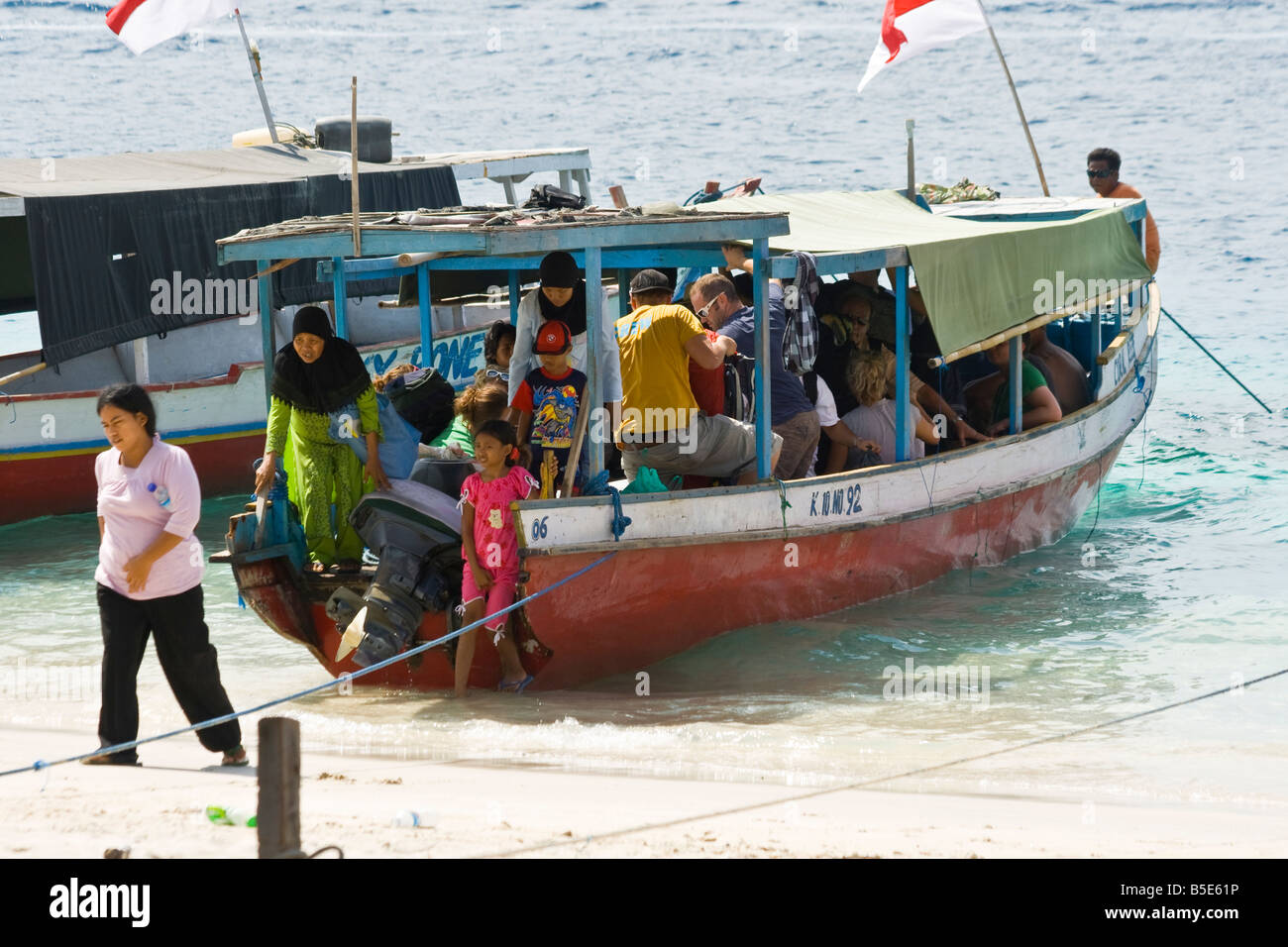Ferryboat Unloading on Gili Trawangan in Lombok Island Indonesia Stock Photo