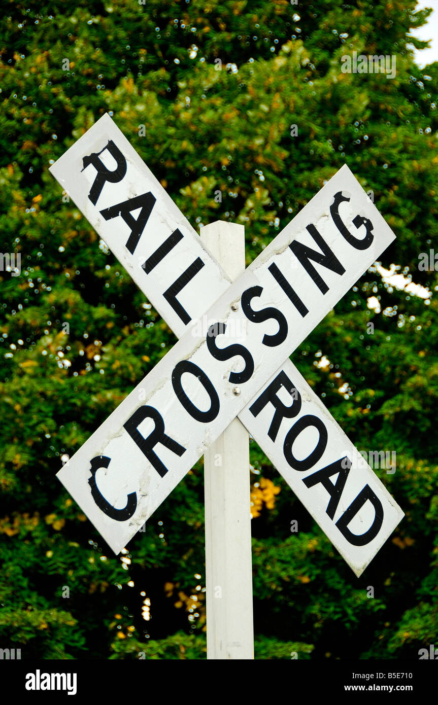 Railroad crossing sign, Vermont, USA - Stock Image