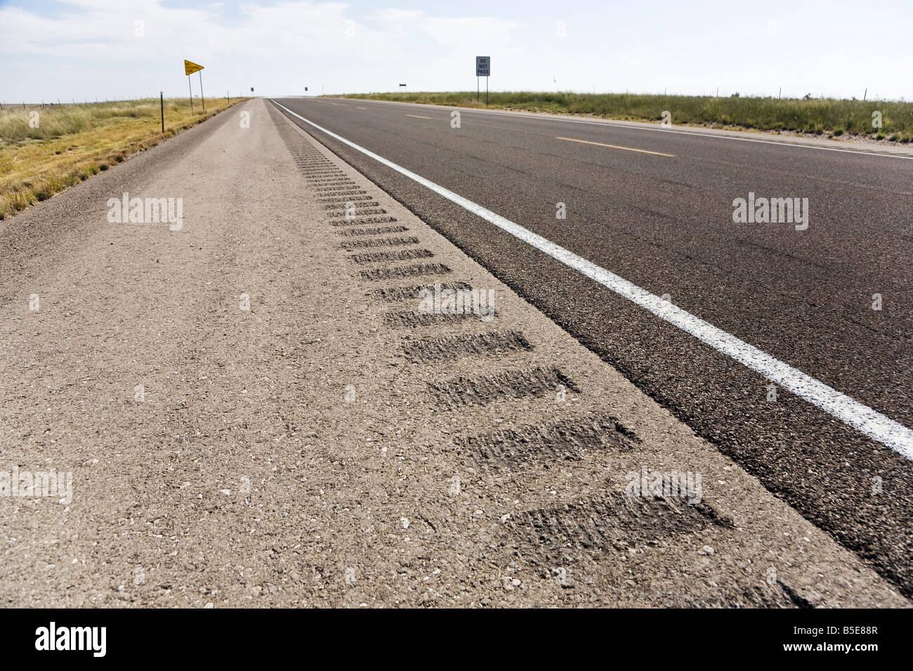 Roadway shoulder rumble strips, USA Stock Photo
