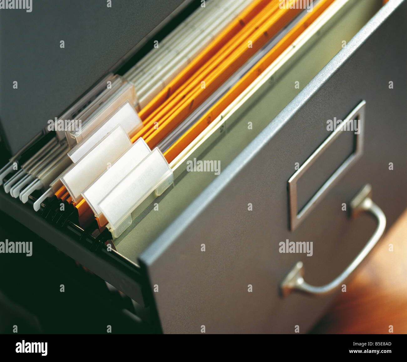 Hanging files in a drawer - Stock Image