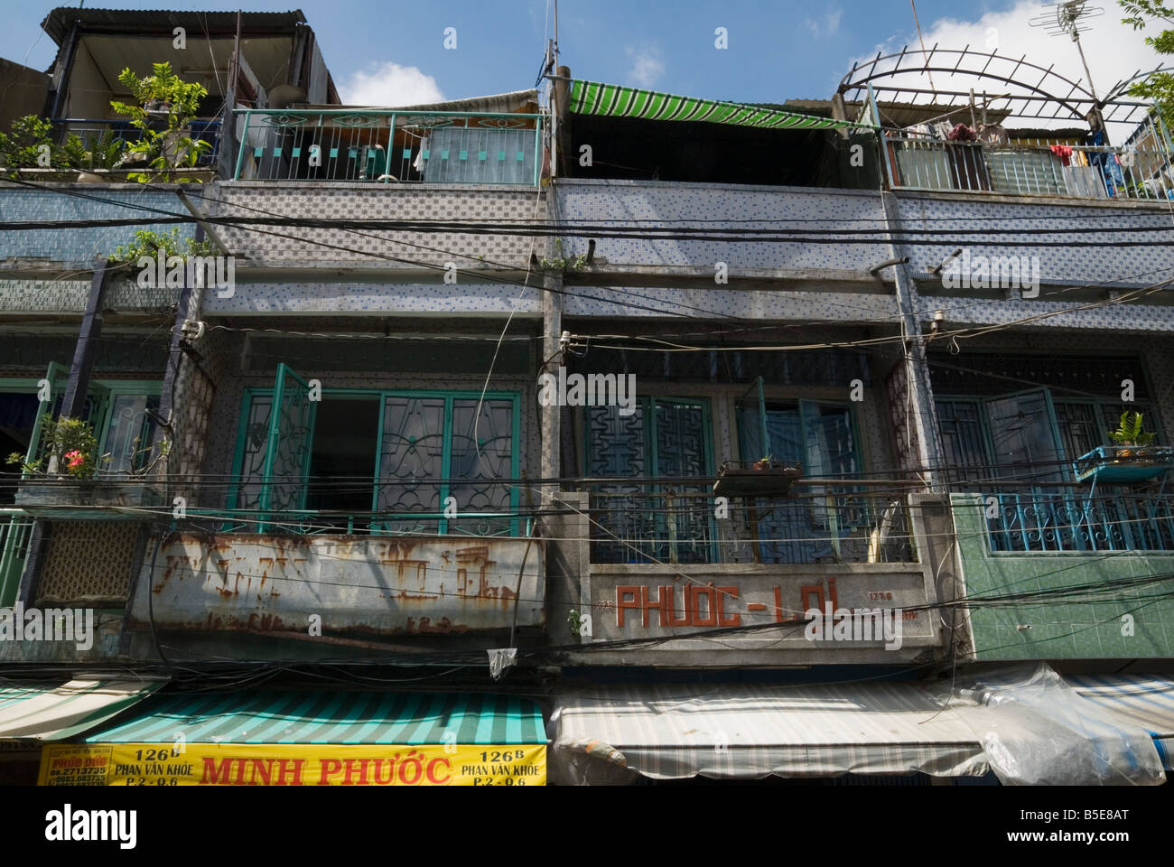 Shophouse facades in Cholon, Ho Chi Minh City - Stock Image