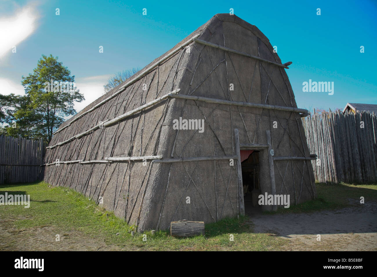 Huron Long-house authentic Huron Indian Village in Midland Ontario Canada - Stock Image