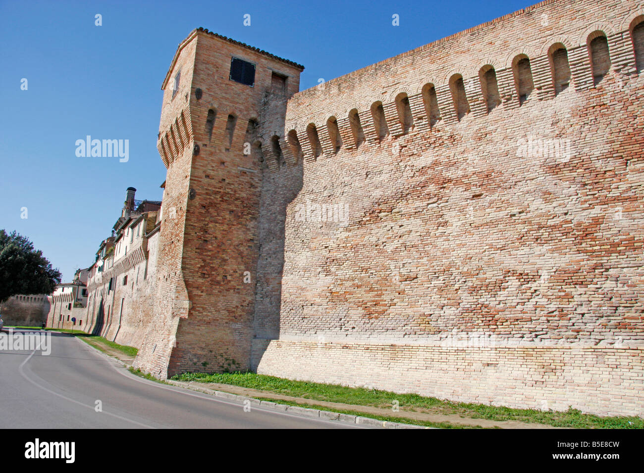 the 14th century historic walls of the beautiful hilltown of Jesi in Le Marche, Italy are built on Roman foundations Stock Photo