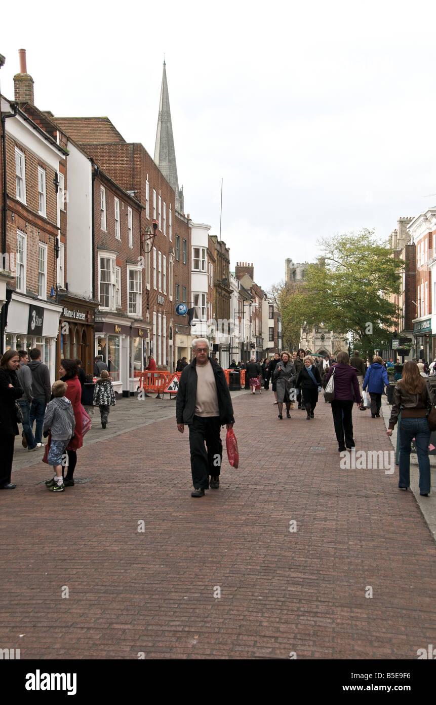 Chichester pedestrian precinct Sussex East Street - Stock Image
