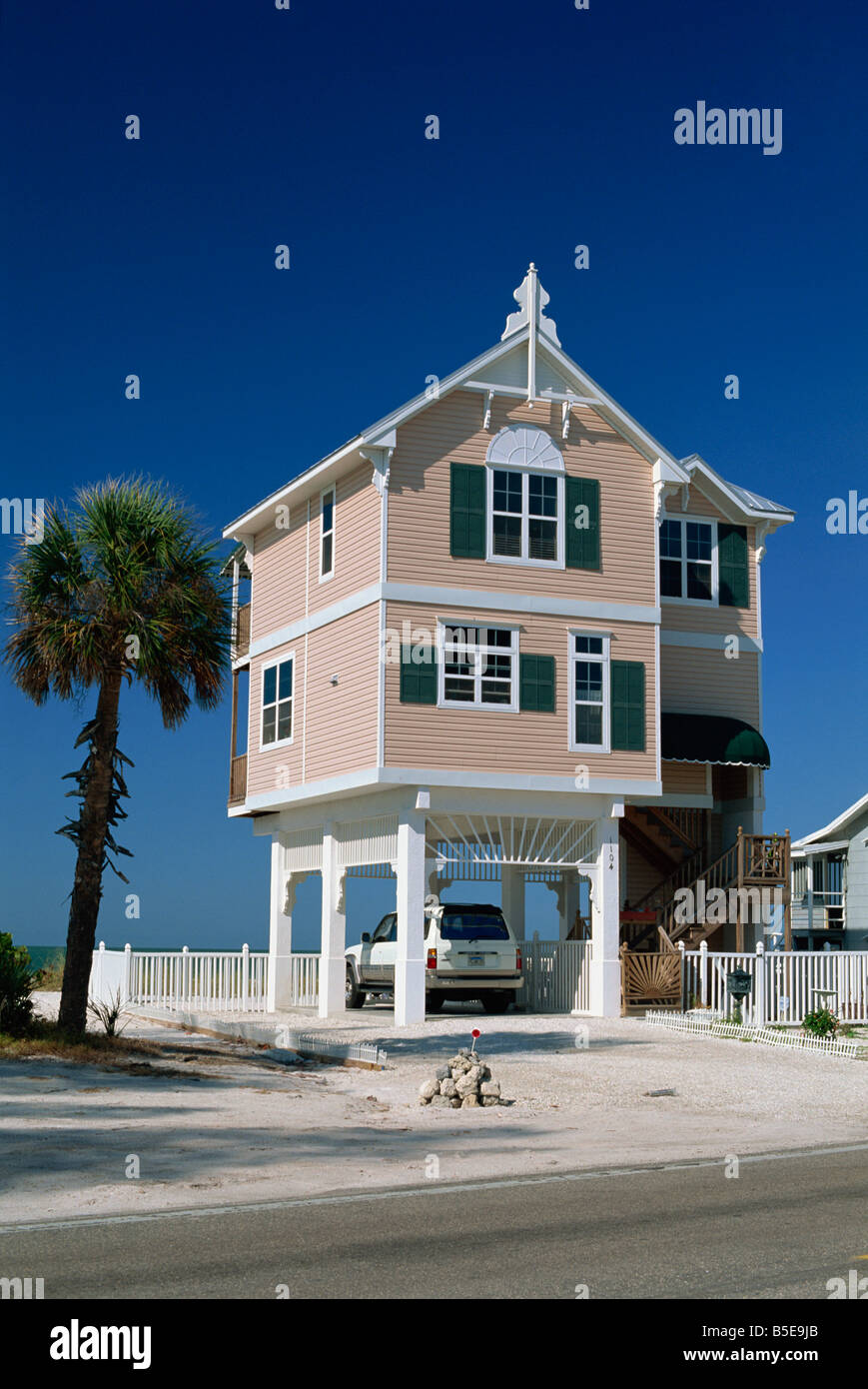 A modern house by the beach in the gulf coast town of bradenton beach south of tampa florida usa north america