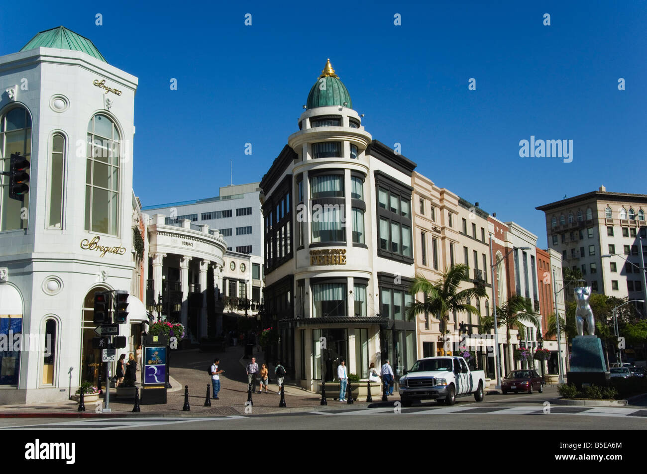 Designer boutiques in Rodeo Drive, Beverly Hills, Los Angeles, California, USA, North America - Stock Image