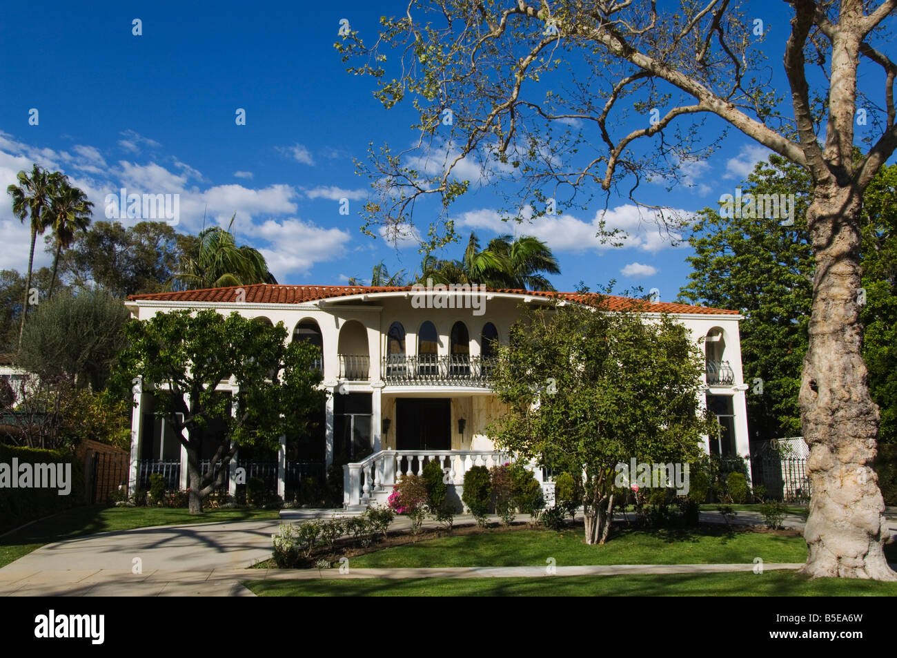 mansions of the rich and famous beverly hills los angeles stock