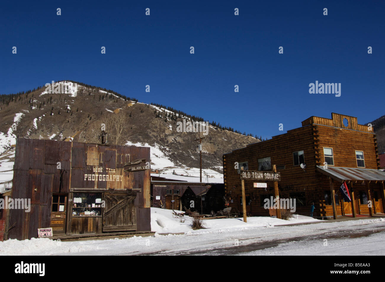 Old Time Photography shop and town sqaure in the old Wild West silver mining town of Silverton, Colorado, USA, North Stock Photo