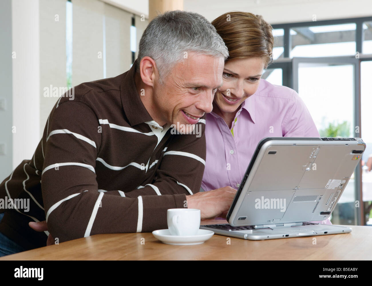 Mature couple using a laptop - Stock Image