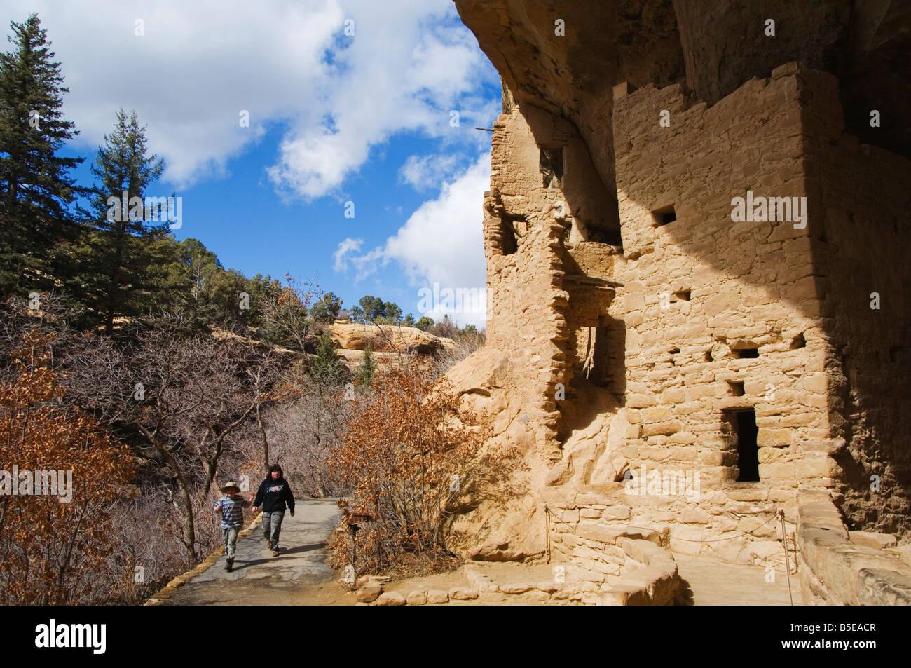 Spruce Tree House Ruins, Pueblo ruins in Mesa Verde, Mesa Verde National Park, Colorado - Stock Image