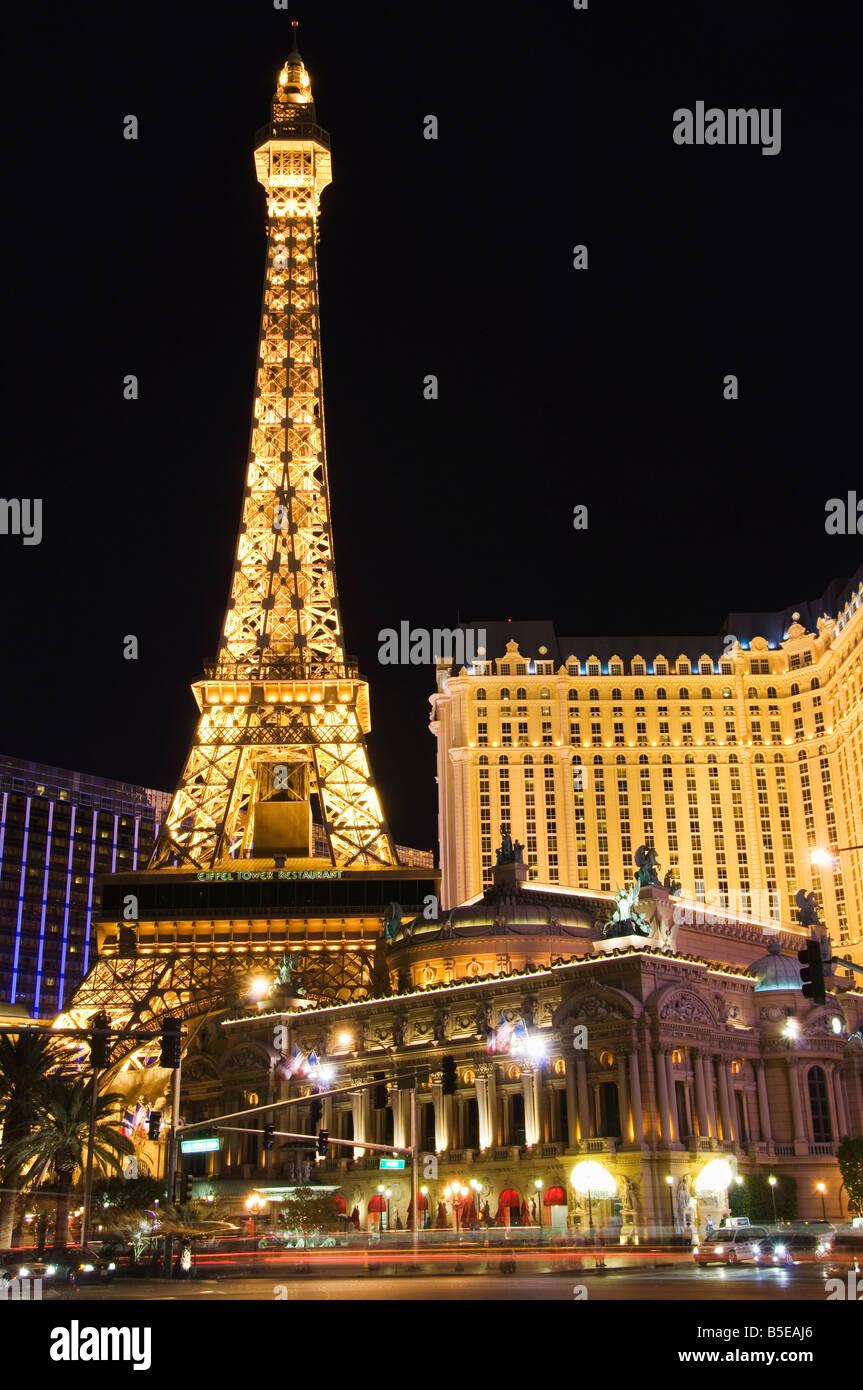 Eiffel Tower reproduction at Paris Las Vegas Casino, Las Vegas, Nevada, USA, North America - Stock Image