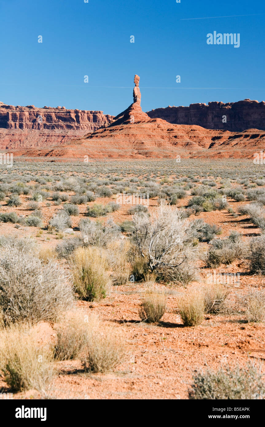 Sandstone spires at Valley of the Gods near Monument Valley, Utah, USA, North America - Stock Image