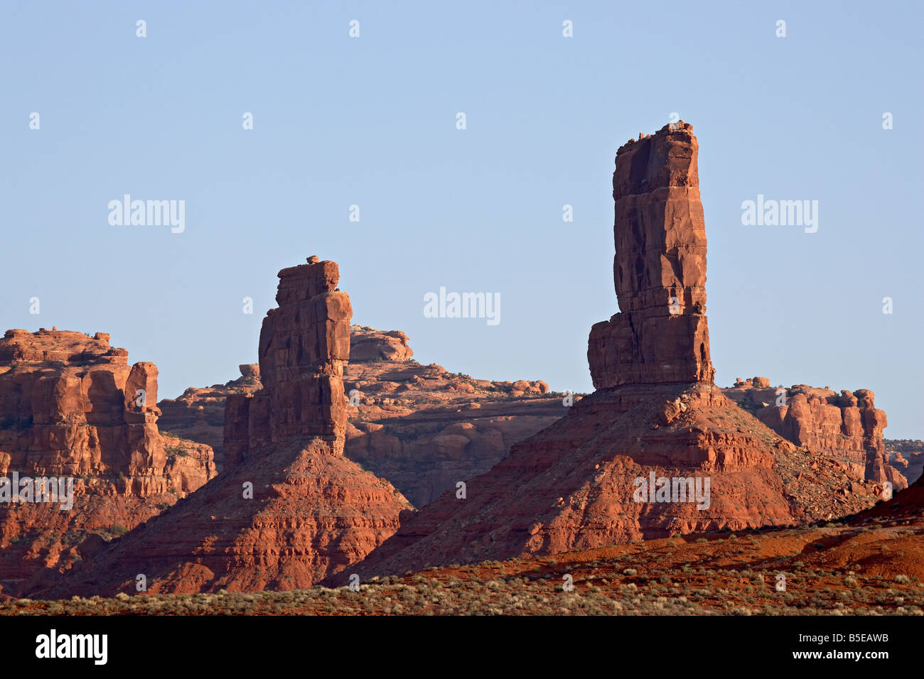 Red rock formation at sunrise, Valley of the Gods, Utah, USA, North America - Stock Image