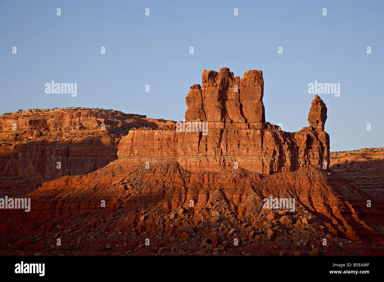 Red rock formation at sunset, Valley of the Gods, Utah, USA, North America - Stock Image