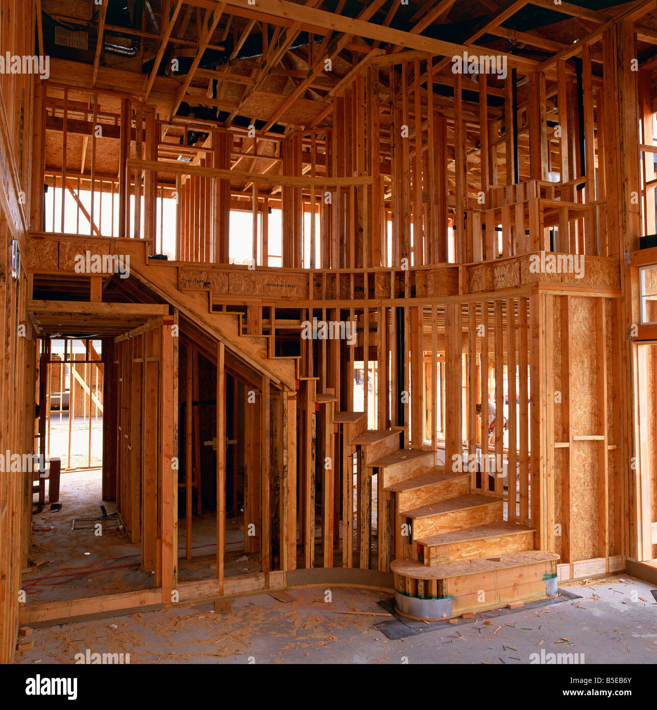 Interior of a wood framed house under construction in California USA T Gervis - Stock Image