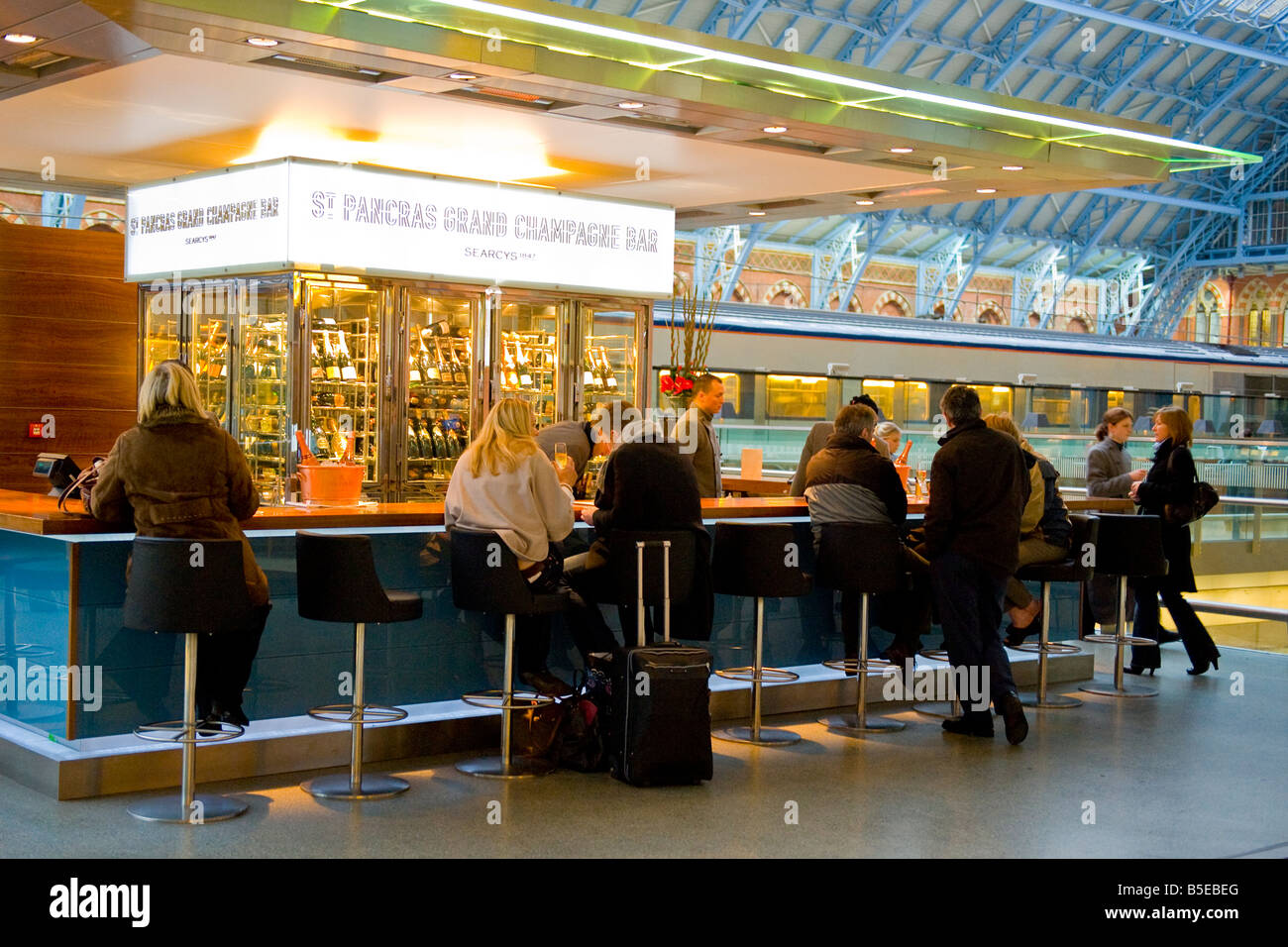 London , St Pancras Railway Train Station , The St. Pancras Grand Champagne Bar interior - Stock Image