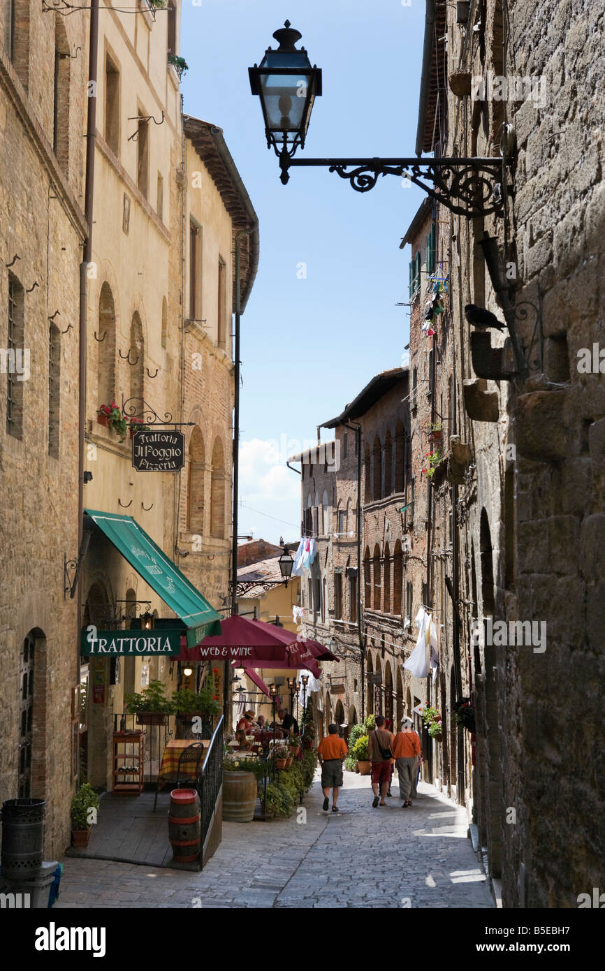 Cafe in a side street in the old town, Volterra, Tuscany, Italy - Stock Image