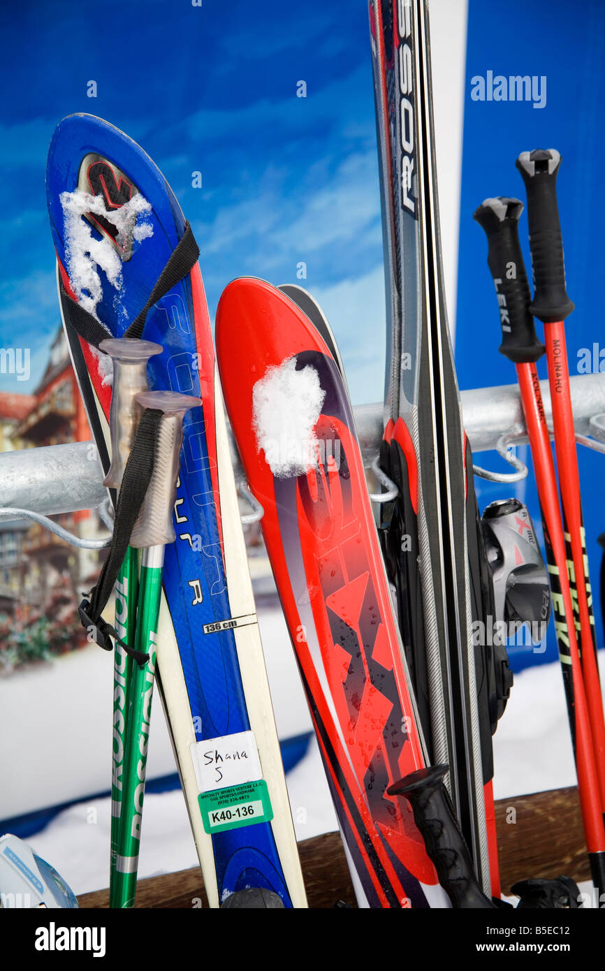 Row of skis at Lionshead Village, Vail Ski Resort, Rocky Mountains, Colorado, USA, North America - Stock Image
