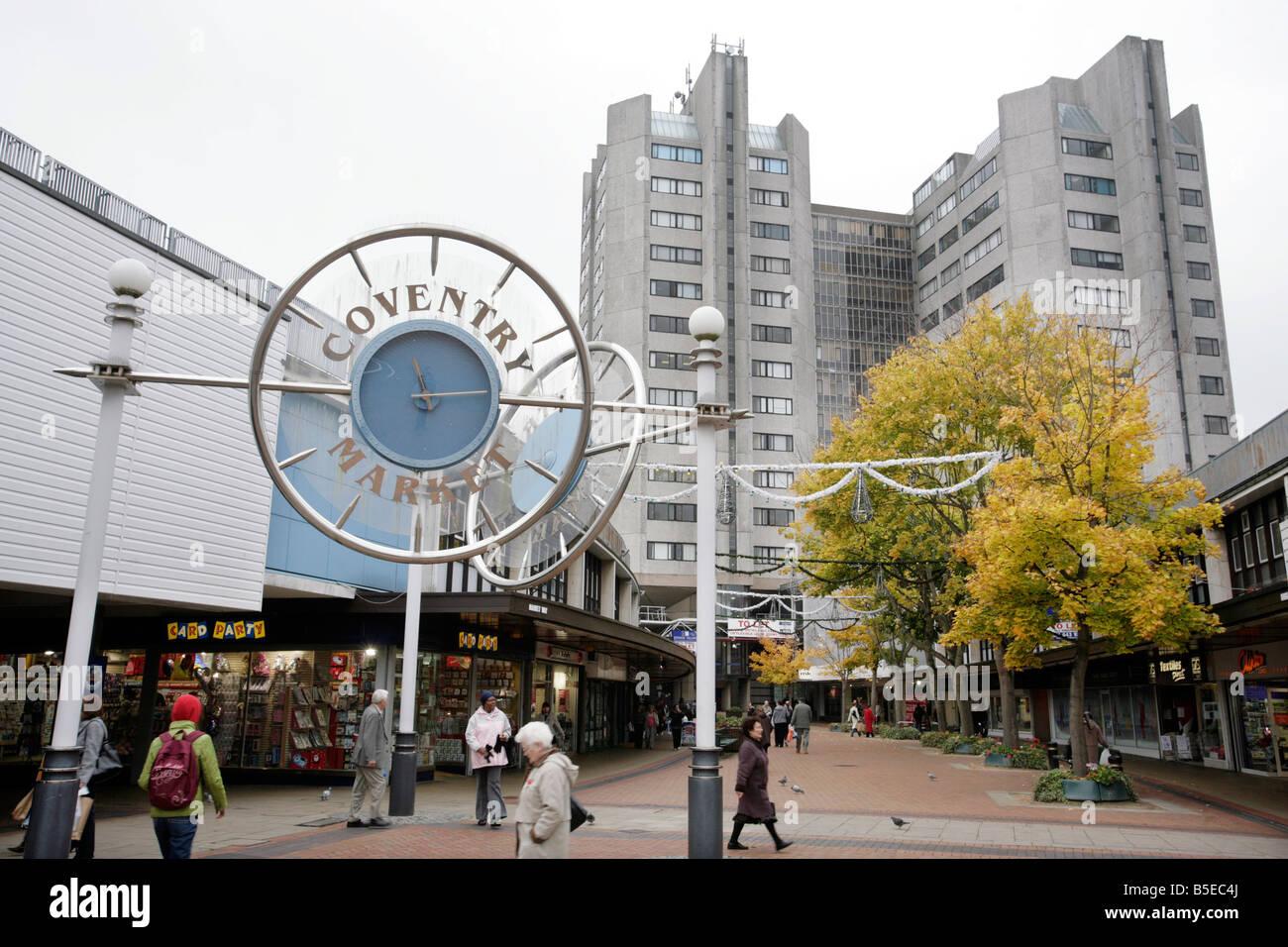Coventry Market shopping precinct in Coventry, UK - Stock Image