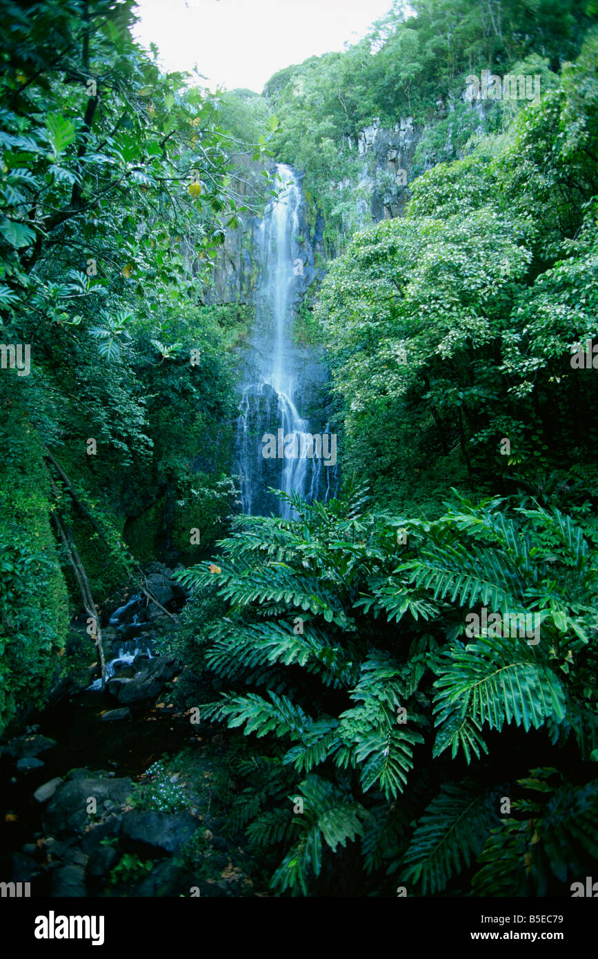 The one hundred foot Wailua falls near Oheo, one of the sights on the famous Hana Coast, Maui, Hawaii, USA, North - Stock Image