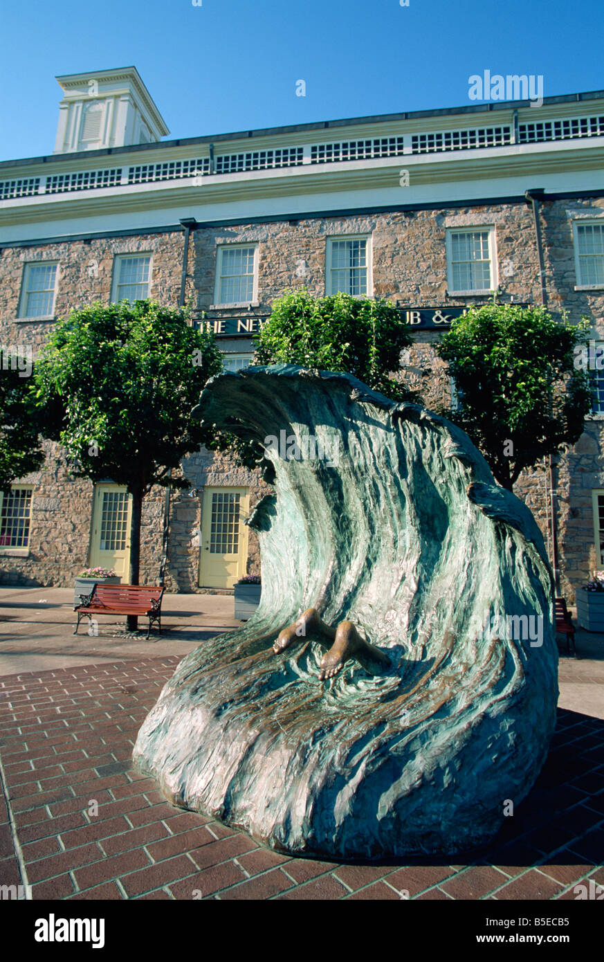 Sculpture depicting someone diving into a wave, Newport, Rhode Island, New England, USA, North America - Stock Image
