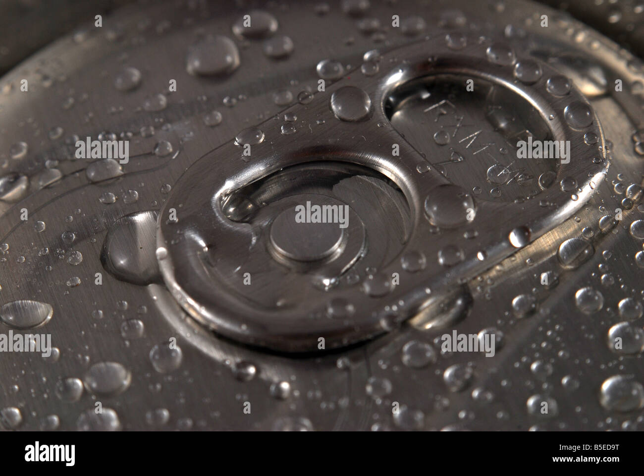 A fresh ring pull tab on a can - Stock Image